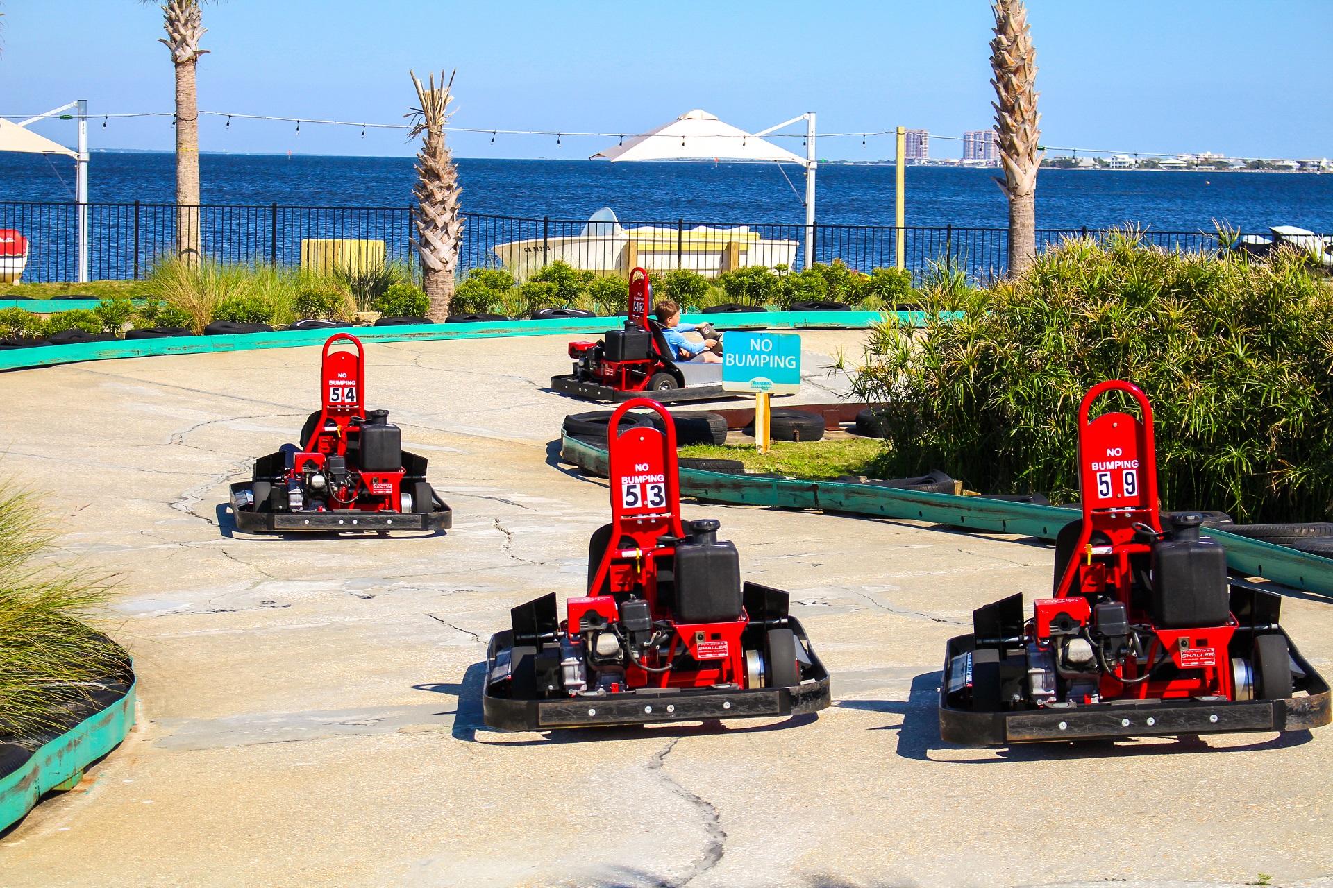 beach front go kart track on Pensacola Beach